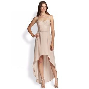 BCBG DRESS HIGH LOW NUDE PINK BUSTIER FAUX LEATHER